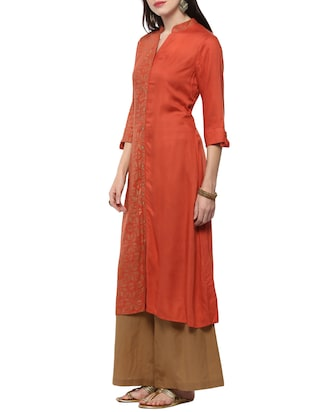 orange viscose straight kurta - 14527355 - Standard Image - 2