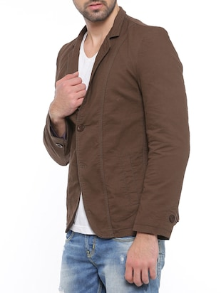 brown cotton casual blazer - 14527423 - Standard Image - 2