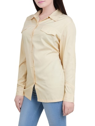 solid yellow viscose shirt - 14527846 - Standard Image - 2