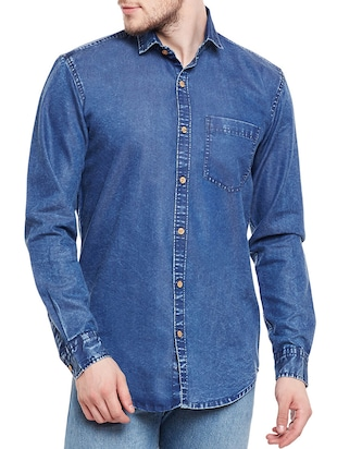 navy blue cotton casual shirt -  online shopping for casual shirts