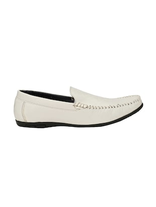 white leatherette slip on loafer - 14528670 - Standard Image - 2