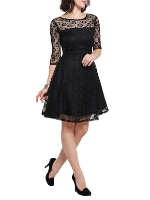 black net fit and flare dress - 14528877 - Standard Image - 2
