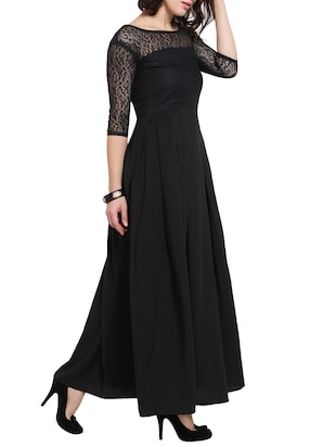 floral lace panel pleated maxi dress - 14528880 - Standard Image - 2