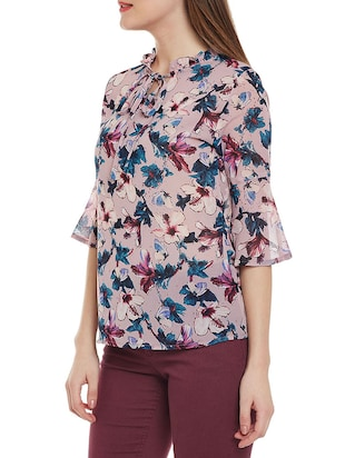 Frill tie neck floral top - 14528888 - Standard Image - 2