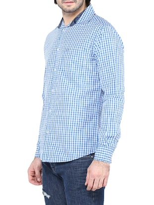 blue cotton casual shirt - 14528991 - Standard Image - 2
