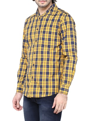 yellow cotton casual shirt - 14528993 - Standard Image - 2