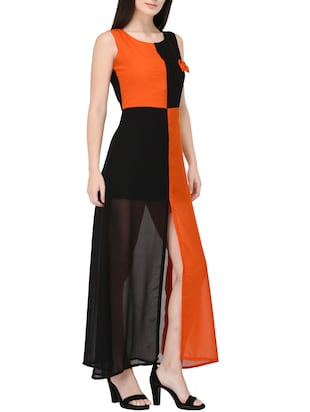 orange georgette a-line dress - 14529315 - Standard Image - 2