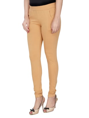 beige cotton lycra jeggings - 14529900 - Standard Image - 2