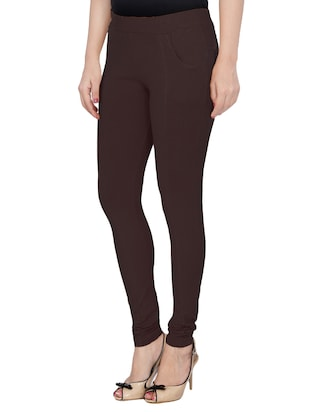 brown cotton lycra jeggings - 14529963 - Standard Image - 2
