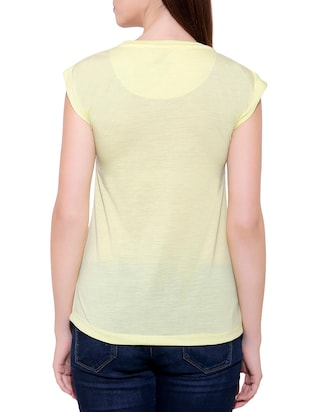 yellow cotton blend tee - 14531120 - Standard Image - 2