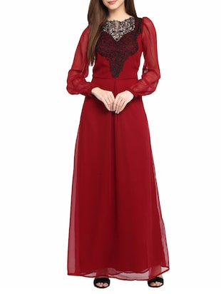 maroon solidmaxi dress