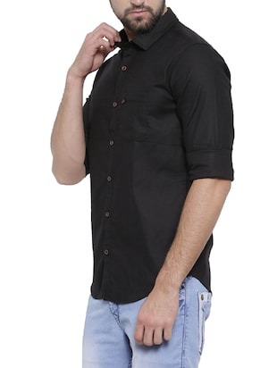 black cotton casual shirt - 14531669 - Standard Image - 2