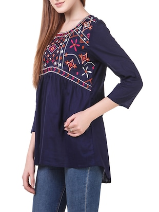 navy blue casual cotton top - 14531861 - Standard Image - 2