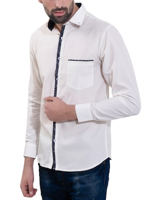 white cotton casual shirt - 14532778 - Standard Image - 2