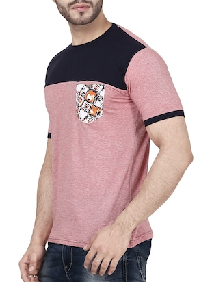 pink cotton color block t-shirt - 14533811 - Standard Image - 2
