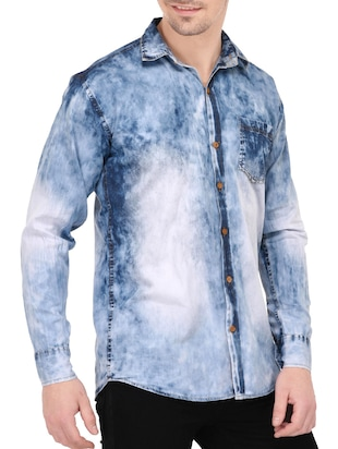 blue denim casual shirt - 14533934 - Standard Image - 2