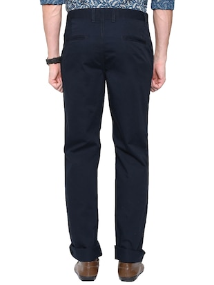 navy blue cotton chinos cAsual trouser - 14534718 - Standard Image - 2