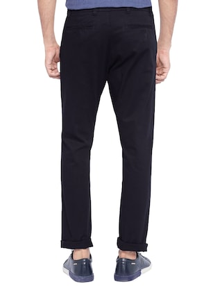 navy blue cotton chinos casual trouser - 14534723 - Standard Image - 2