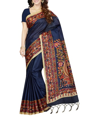purple art silk printed saree