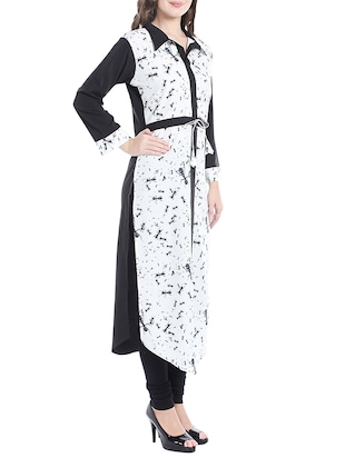 white colored crepe straight kurta - 14535035 - Standard Image - 2