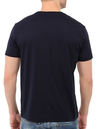 navy blue cotton chest print tshirt - 14536049 - Standard Image - 2