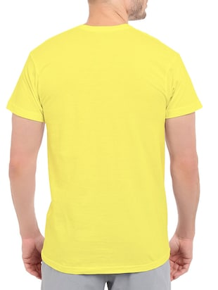 yellow cotton chest print tshirt - 14536327 - Standard Image - 2