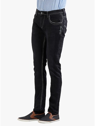 black cotton plain jeans - 14536504 - Standard Image - 2