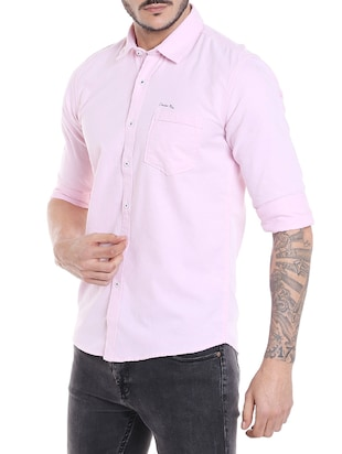 pink cotton casual shirt - 14537493 - Standard Image - 2