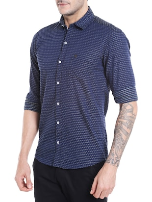 navy blue cotton casual shirt - 14537498 - Standard Image - 2