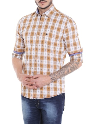 brown cotton casual shirt - 14537500 - Standard Image - 2