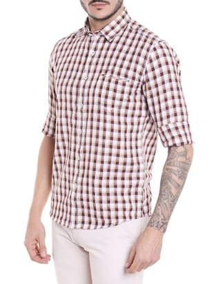 brown cotton casual shirt - 14537503 - Standard Image - 2