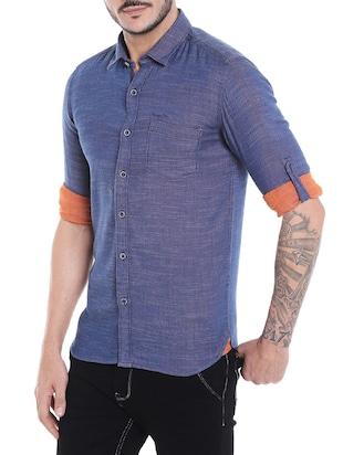 navy blue cotton casual shirt - 14537510 - Standard Image - 2
