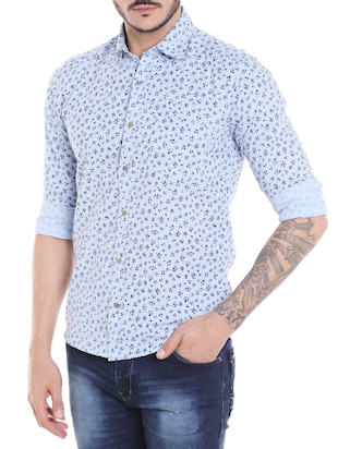 blue cotton casual shirt - 14537517 - Standard Image - 2