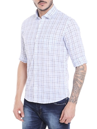 blue cotton casual shirt - 14537527 - Standard Image - 2