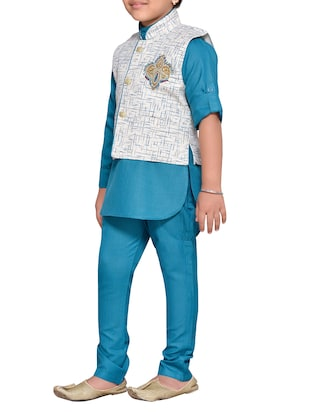 blue cotton blend kurta set and waistcoat - 14537653 - Standard Image - 2
