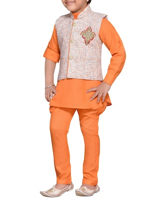 orange cotton blend kurta set and waistcoat - 14537654 - Standard Image - 2