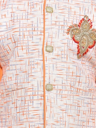 orange cotton blend kurta set and waistcoat - 14537654 - Standard Image - 5
