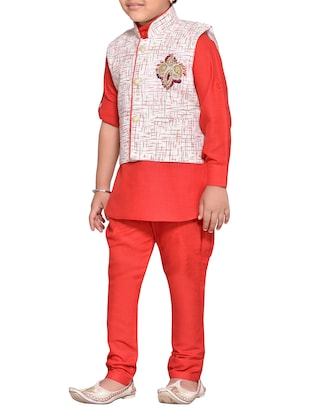 red cotton blend kurta set - 14537655 - Standard Image - 2