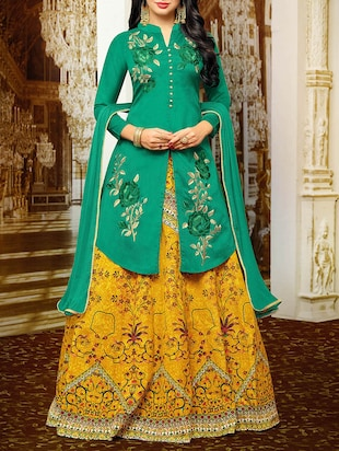 green semi-stitched lehenga jacket