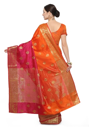 orange silk blend banarasi saree with blouse - 14538443 - Standard Image - 2