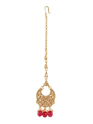 Pink Gold Tone Necklace, Earrings & Maangteeka Set - 14539806 - Standard Image - 2