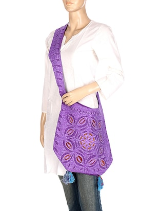 purple cotton regular sling bag - 14539932 - Standard Image - 5