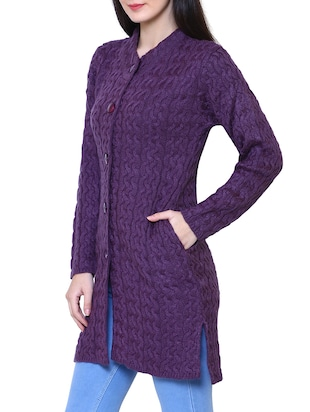 purple woolen coatigan - 14539941 - Standard Image - 2