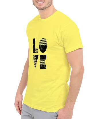 yellow cotton chest print tshirt - 14539975 - Standard Image - 2