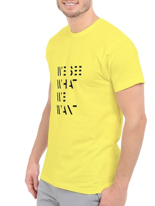 yellow cotton chest print tshirt - 14540005 - Standard Image - 2