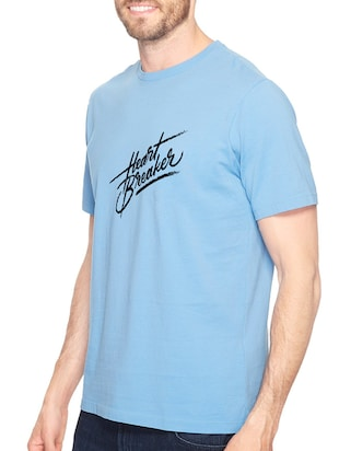 blue cotton chest print tshirt - 14540366 - Standard Image - 2