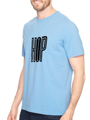 blue cotton chest print tshirt - 14540386 - Standard Image - 2