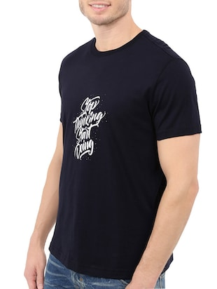 navy blue cotton chest print tshirt - 14540397 - Standard Image - 2