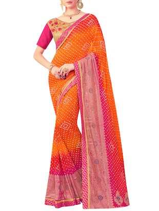 orange bandhani saree