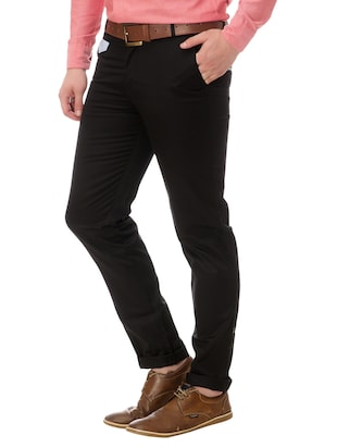 black cotton chinos casual trousers - 14542297 - Standard Image - 2